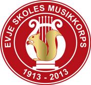 Evje Skoles Musikkorps logo rød med brunt ekorn