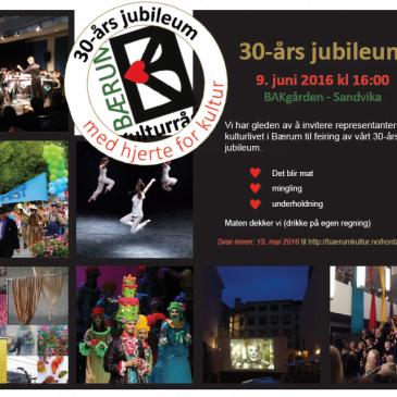Invitasjon til Bærum Kulturråds 30-års jubileum